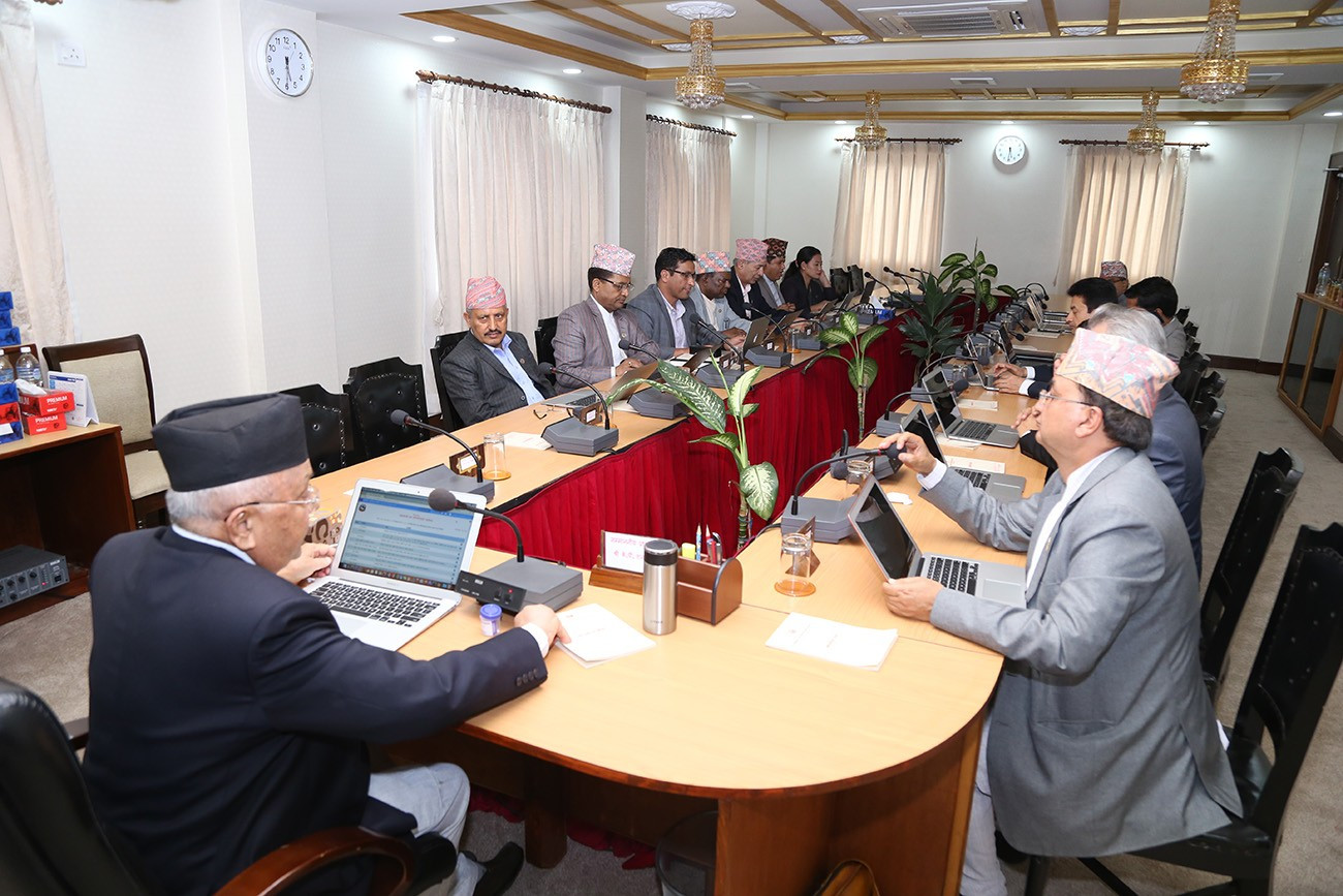 प्रधानमन्त्री निवास बालुवाटारमा मन्त्रिपरिषद् बैठक जारी